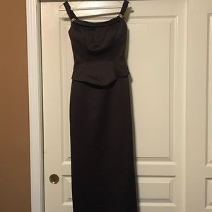 Jordan off shoulder chocolate brown maxi gown